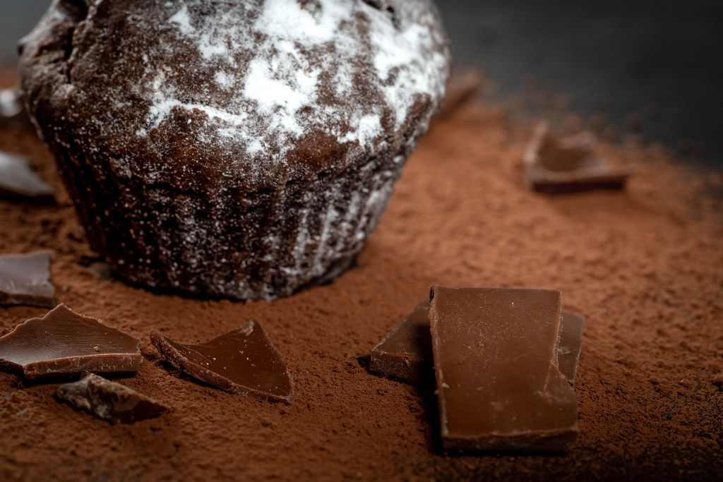 Delicious chocolate cupcake with chocolate pieces