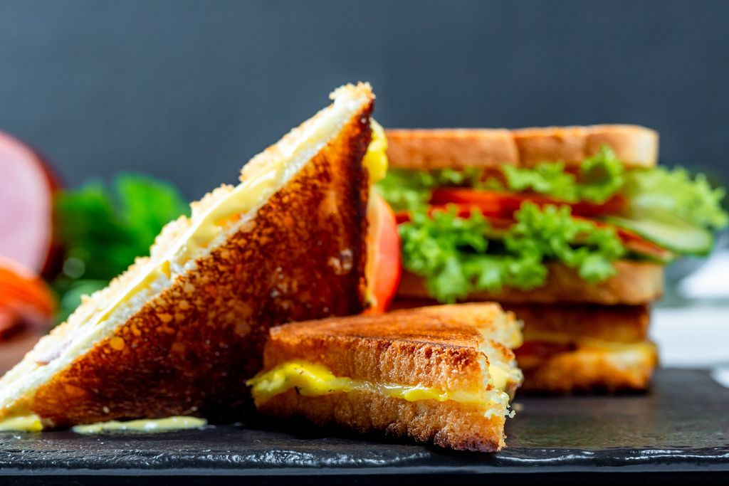 Delicious homemade sandwiches close-up