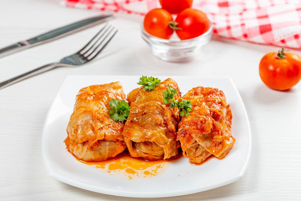 Delicious homemade stuffed with tomato sauce on the table (Flip 2019)