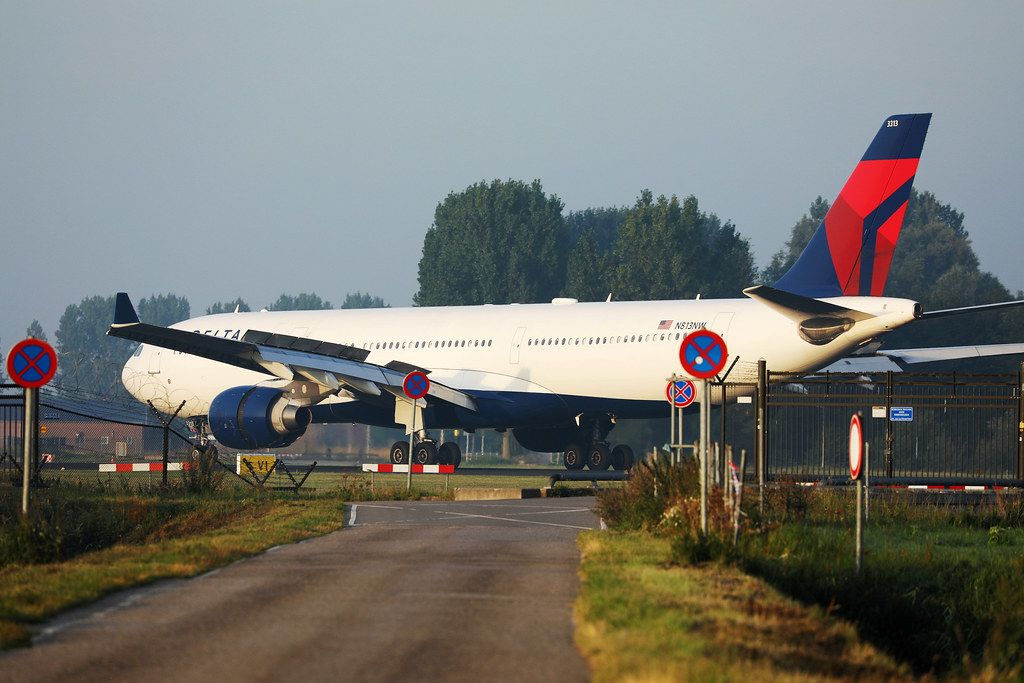 Delta Air Lines plane landing at Amsterdam Airport, AMS
