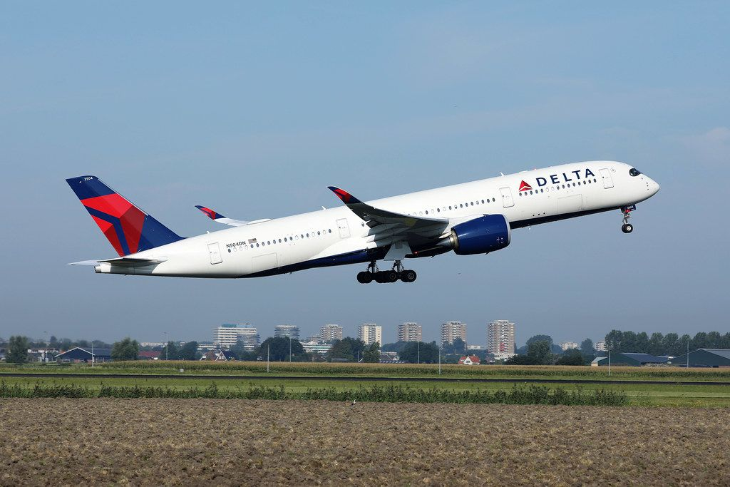 Delta airplane taking off from Amsterdam Airport, AMS