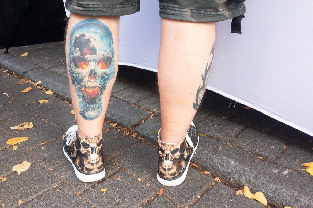 Demonic skull tattoo - Street fair, Cologne