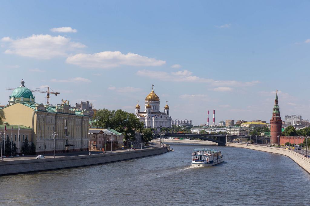Der Fluss Moskwa, der Kreml und die Christ-Erlöser-Kathedrale