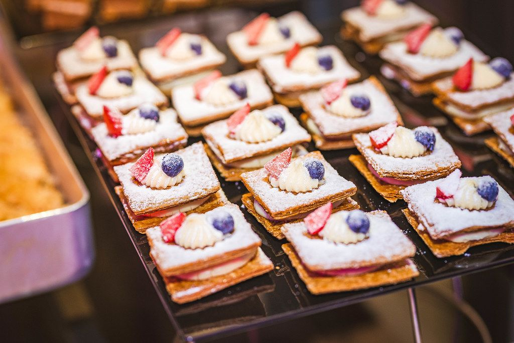 Desert Cream Cakes With Blueberry And Icing Sugar (Flip 2019)