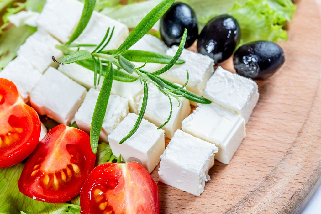 Diced feta cheese with tomatoes and olives (Flip 2019) (Flip 2019) Flip 2019
