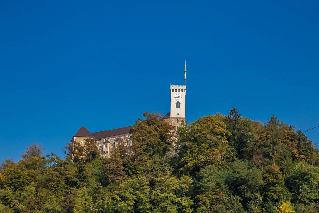 Die Altstadt von Ljubljana mit Uhrenturm mit Bäumen im Vordergrund