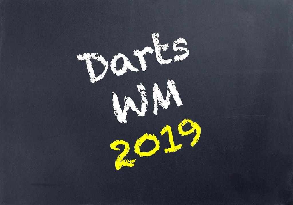Die Worte DARTS WM 2019 in gelber und weißer Schrift auf schwarzem Hintergrund