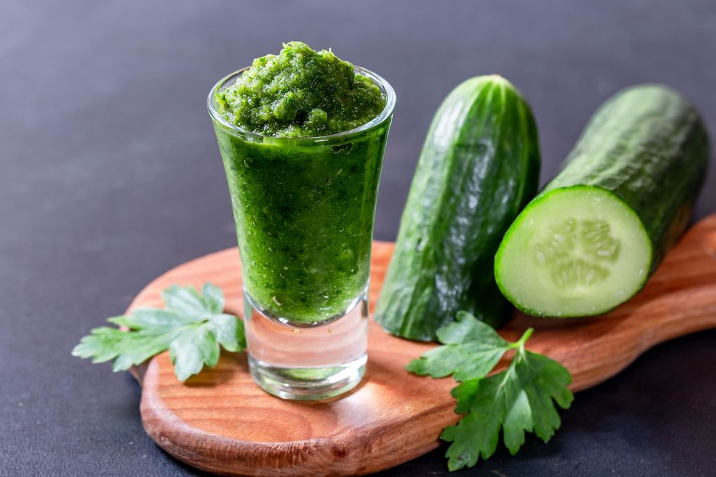 Diet smoothie with cucumber and herbs