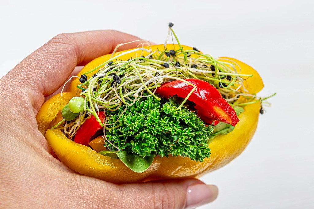 Diet vegetarian sandwich with fresh vegetables and micro greens in a woman's hand