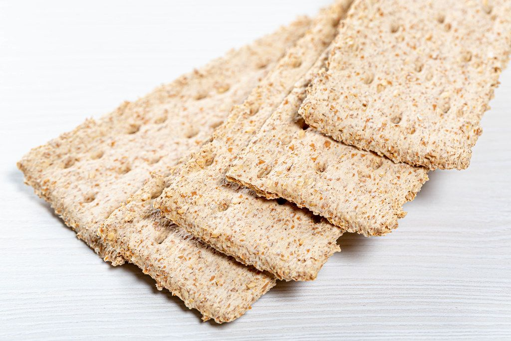Dietary bread made from wheat germ on white background