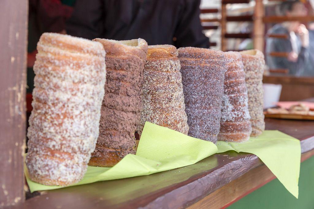 Different kinds of Kürtőskalács spit cake