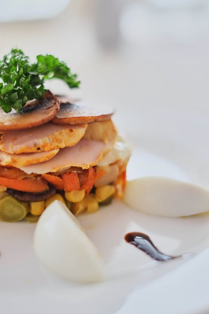 dish with mushrooms ham carrots and corn with eggs side view (Flip 2019) (Flip 2019) Flip 2019