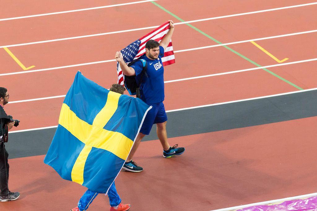 Diskuswerfer Daniel Stahl und Mason Finley bei den  IAAF Leichtathletik-Weltmeisterschaften 2017 in London