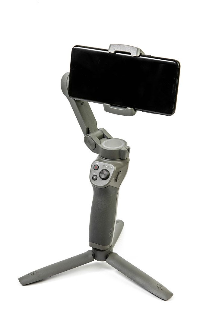 DJI Osmo Mobile 3 phone gimbal with mobile phone attached (Flip 2019)