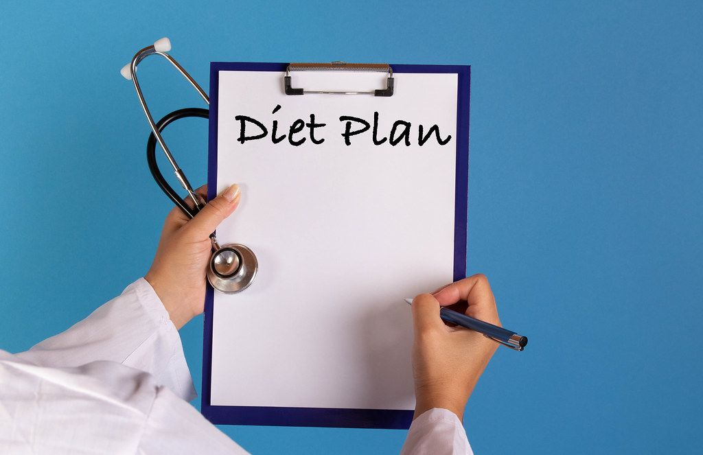 Doctor holding clipboard with Diet plan text