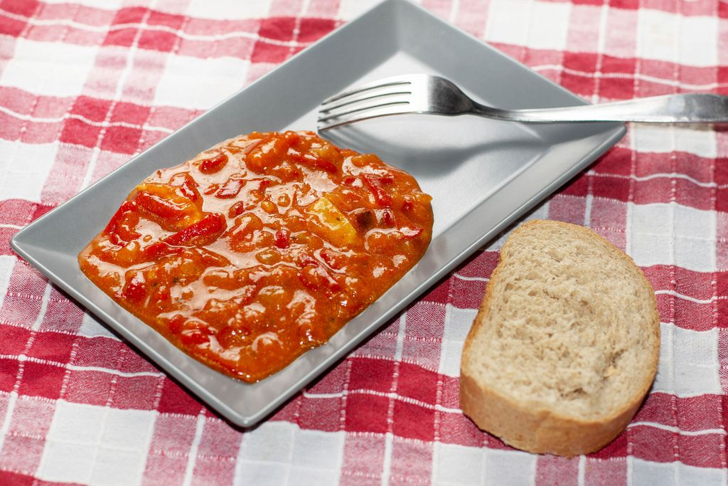 Domestic vegetable stew served on the plate with bread