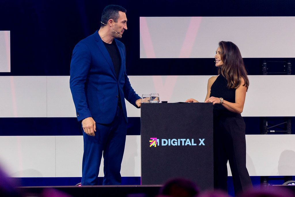 Dr. Wladimir Klitschko and Nazan Eckes on stage of Digital X in Cologne