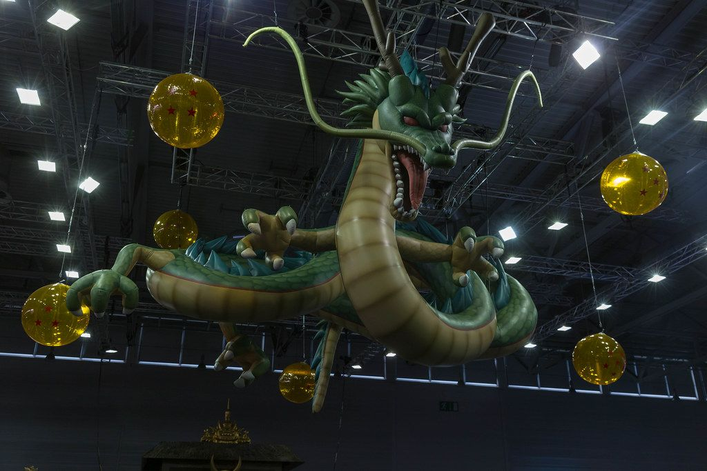 Dragonball Z Dragon Shenron figure hangs from the ceiling at games fair Gamescom in Germany