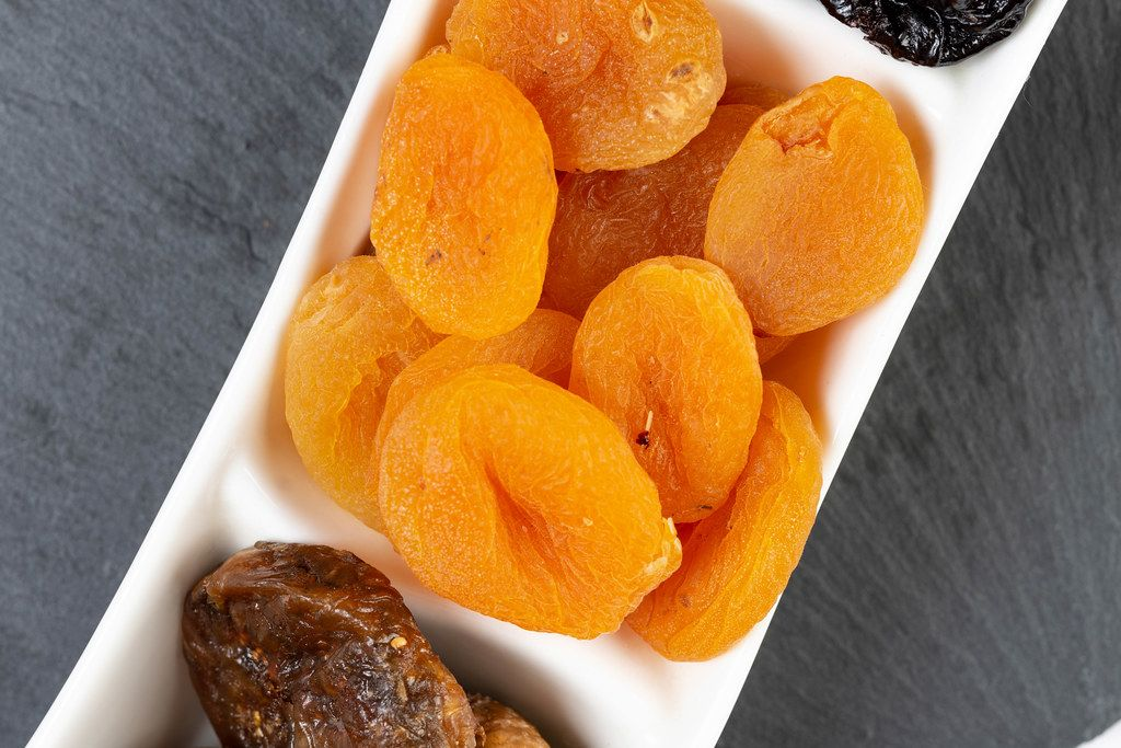 Dried Peaches served on the plate