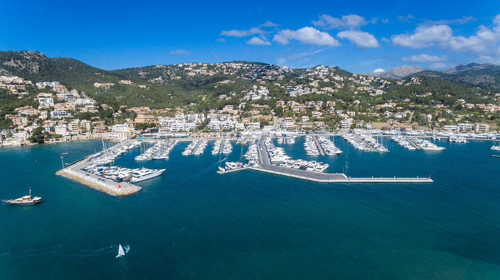 Drone photo of the marina in Puerto de Andraitx, Mallorca