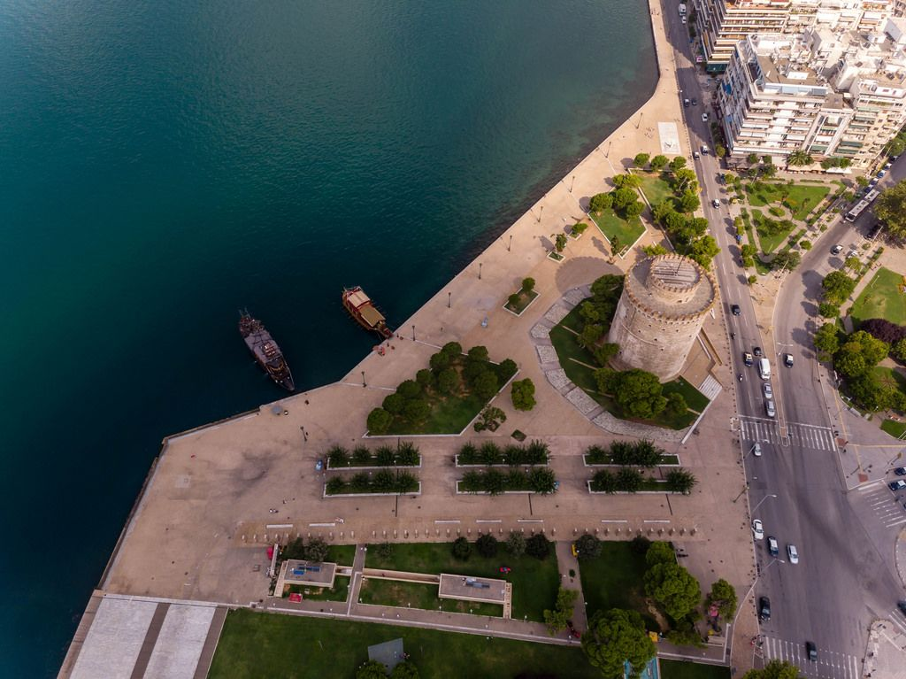 Drone photo of the White Tower of Thessaloniki