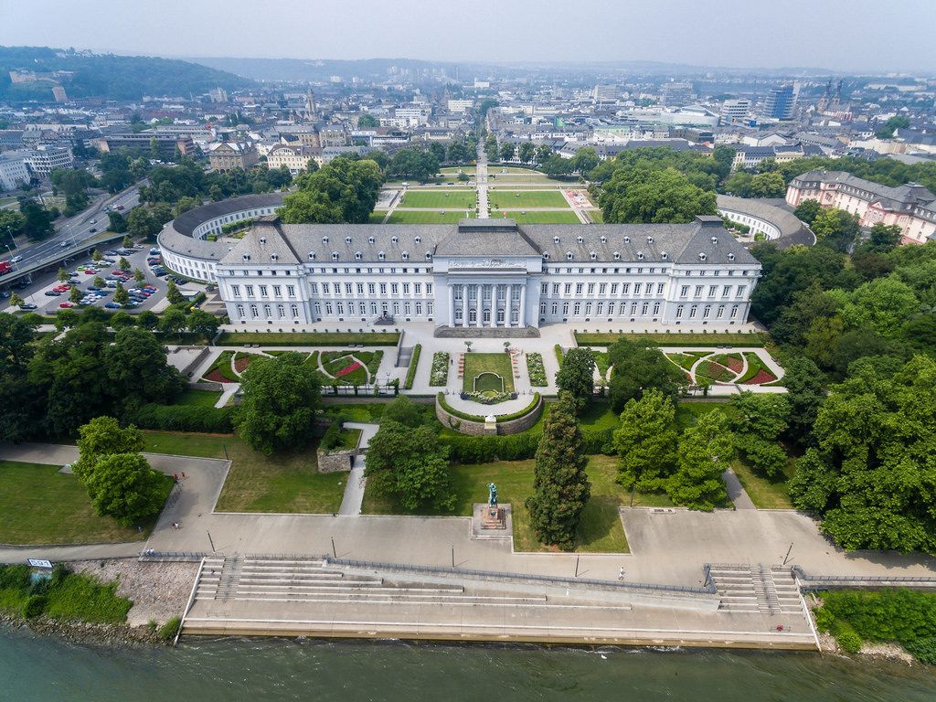 Drone photography of Koblenz castle