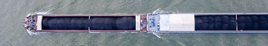 Drone Shot: Coal Ship on Rhine River