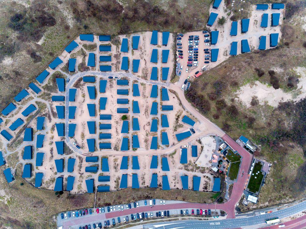 Drone shot of entire resort Qurios in Bloemendaal aan Zee, Netherlands