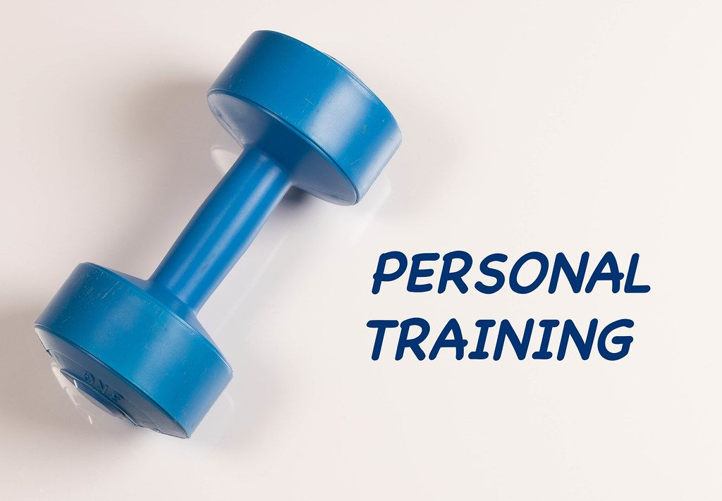 Dumbbell with personal training text