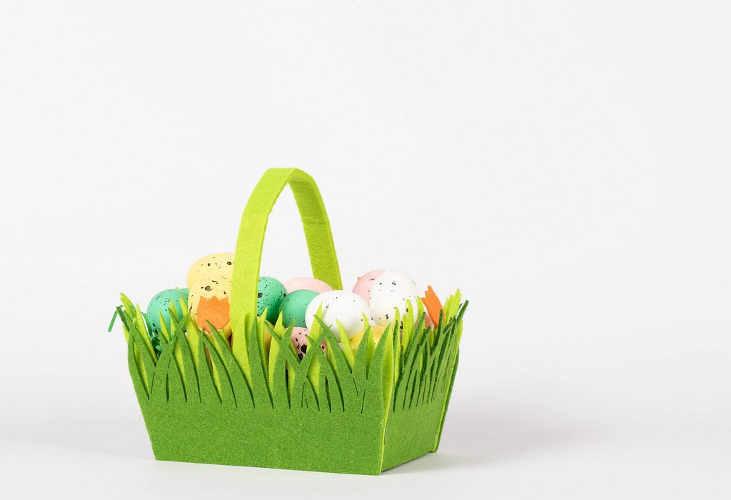 Easter basket filled with hand painted Easter eggs