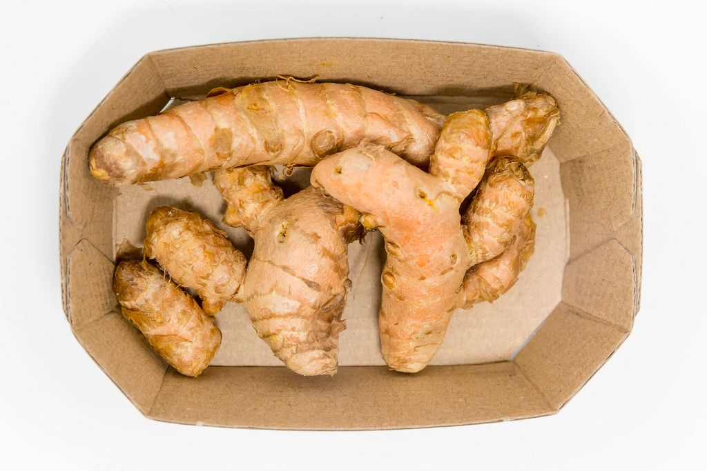 Ecological turmeric roots - top view