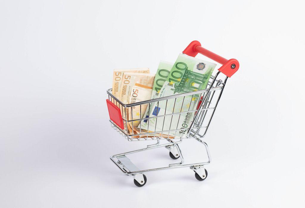 Einkaufswagen mit verschiedenen Euro-Banknoten vor weißem Hintergrund