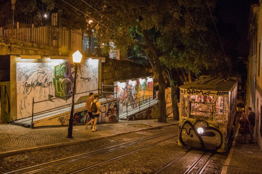 Eléctrico at Calçada da Glória and graffiti wall