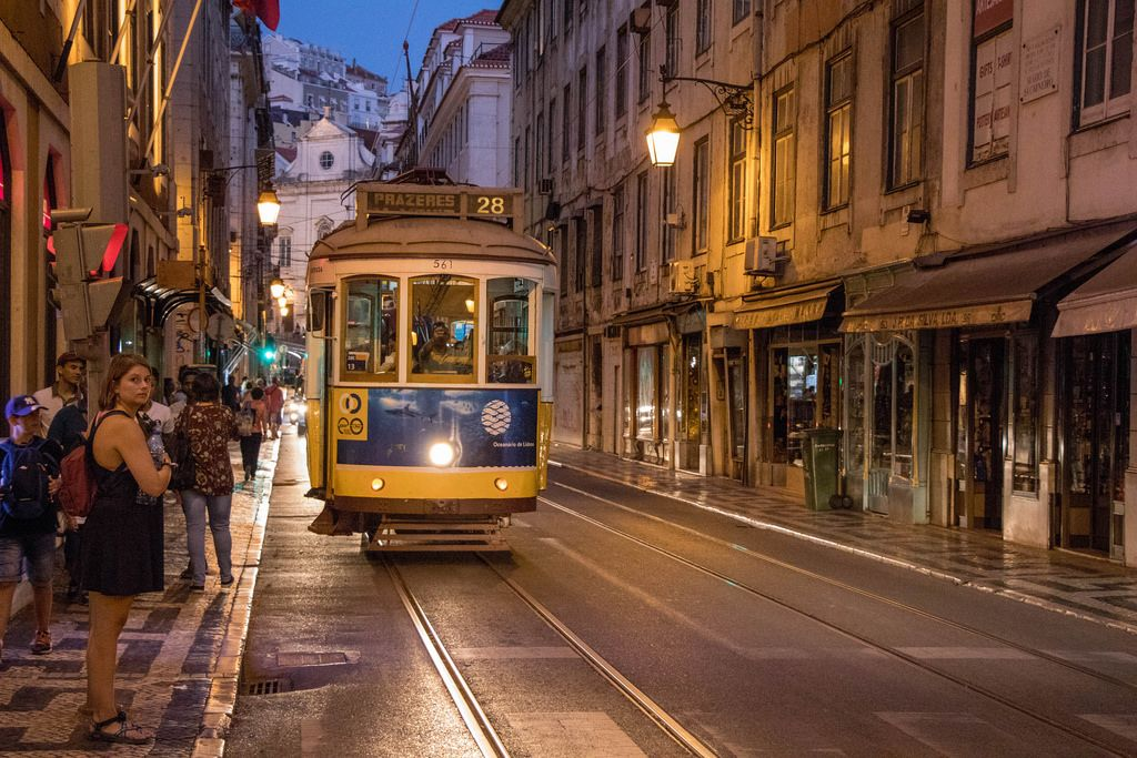 Eléctrico at night in Lisbon
