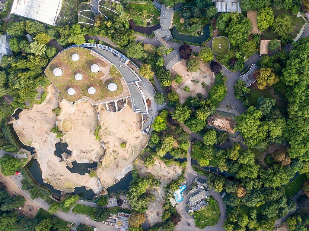 Elefantengehege des Kölner Zoos von oben