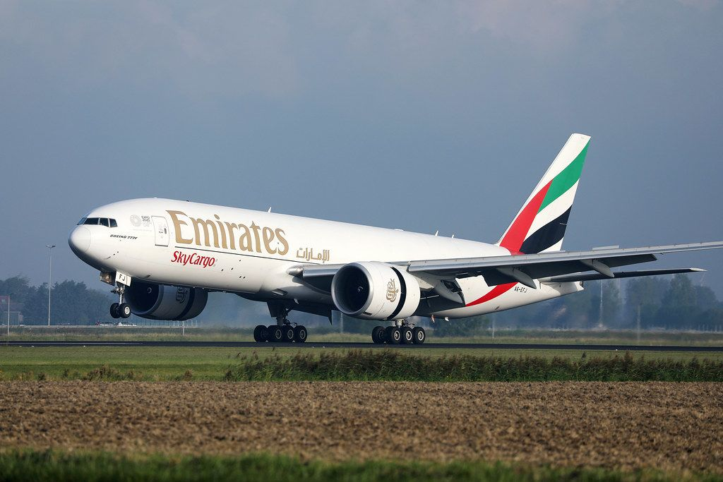 Emirates SkyCargo taking off from Amsterdam Airport