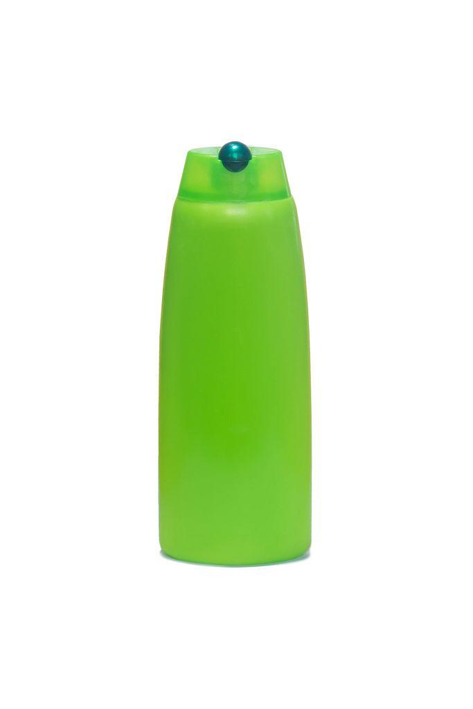 Empty shampoo plastic bottle isolated on white background