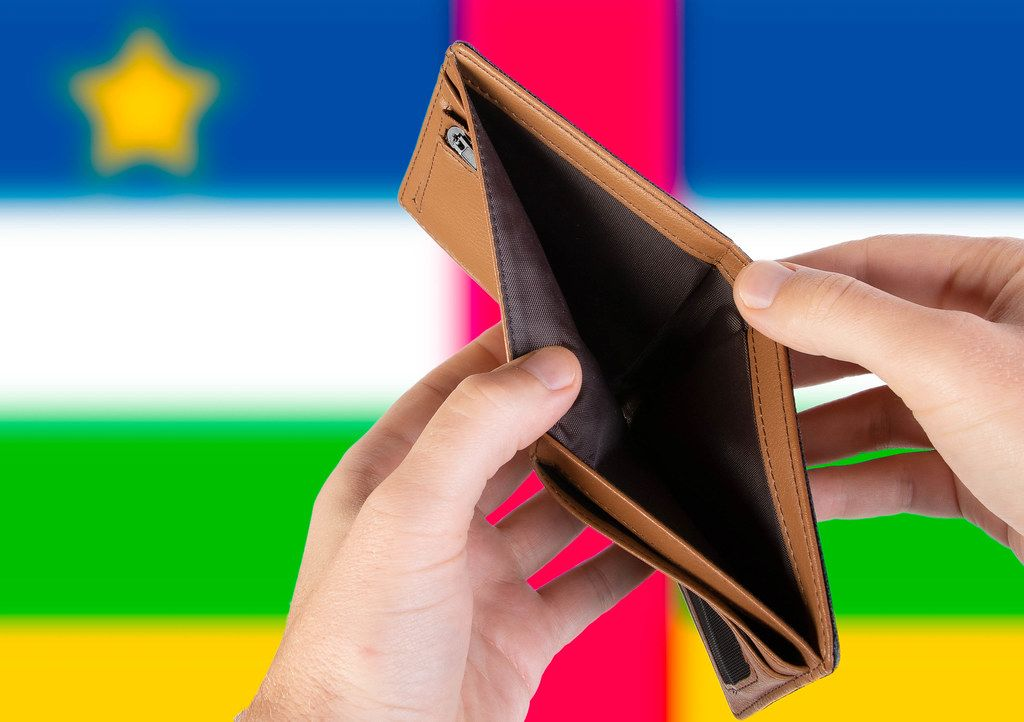 Empty Wallet with Flag of Central African Republic. Recession and Financial Crisis to come with more debt and federal budget deficit?