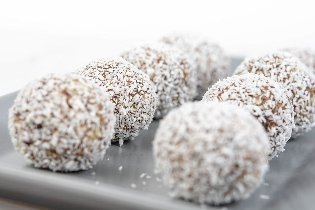 Energy Balls with Coconuts on the plate