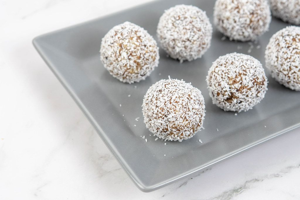 Energy Balls with Date Palm fruits Almonds Walnuts and Coconut