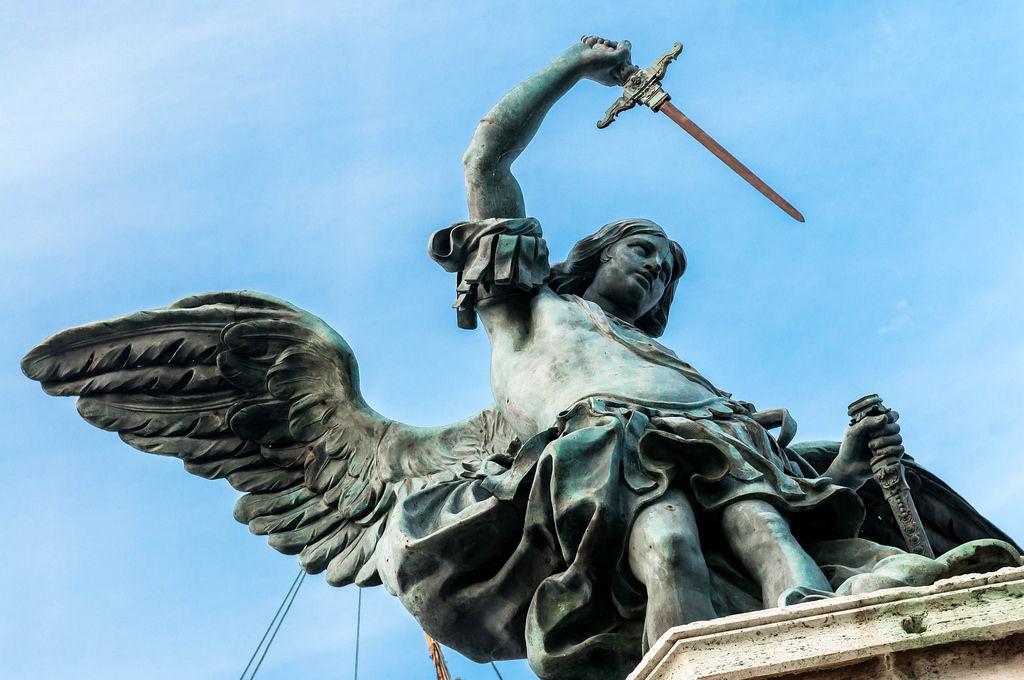 Engel mit Schwert kündigt Ende der Pest an