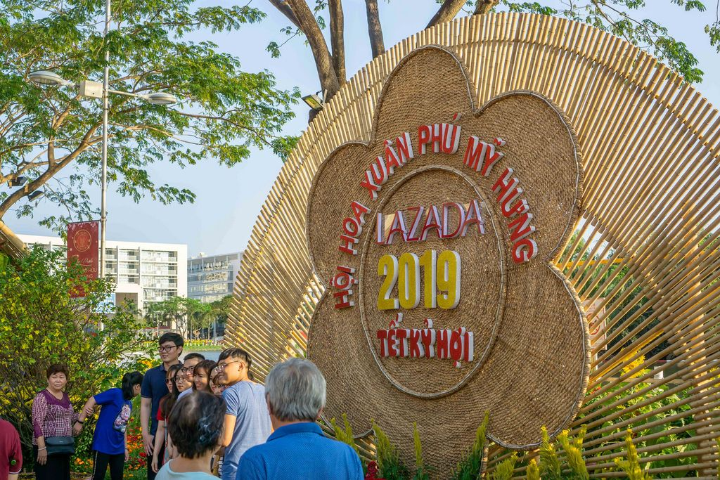 Entrance of the Flower Street at Crescent Lake, Saigon