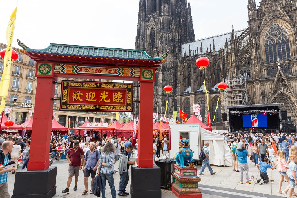 Entrance to the Chinafest in the shape of a Chinese gate