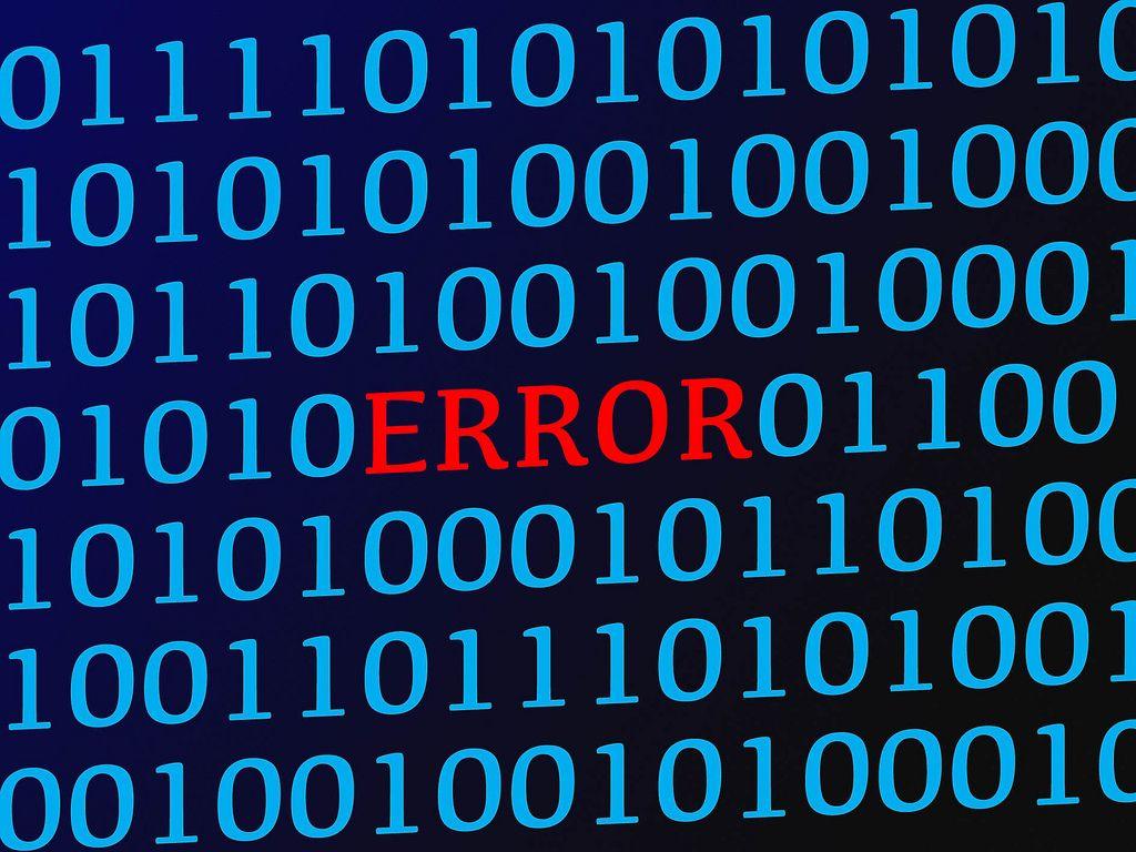 Error red text between blue binary data on screen