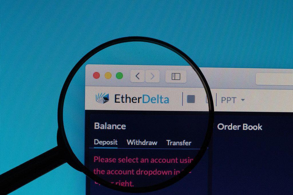 EtherDelta logo under magnifying glass