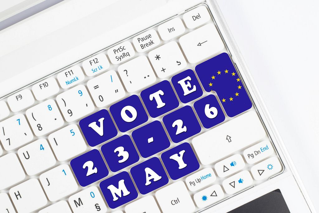 European elections date on computer keyboard