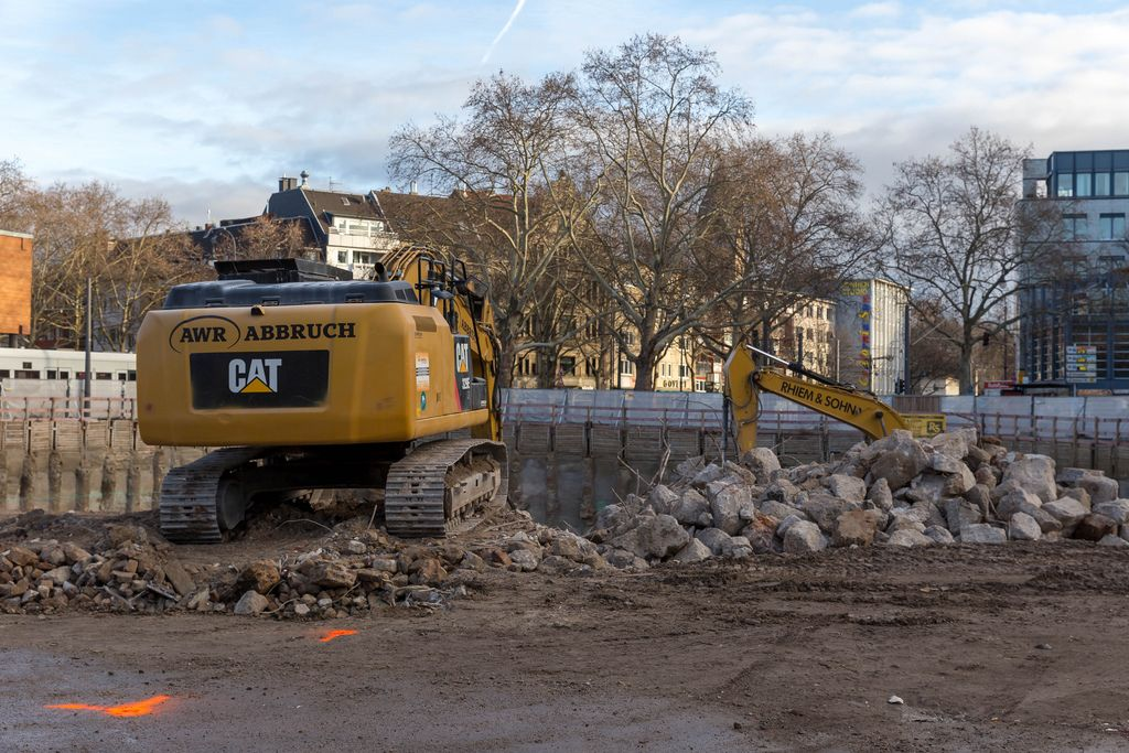 Excavator on construction site at Rudolfplatz in Cologne