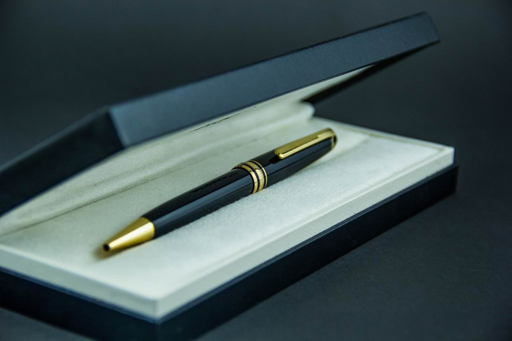 Expensive Mont Blanc Pen on a Black Background