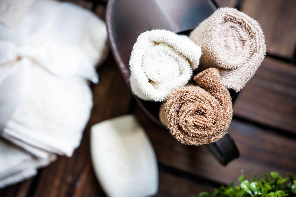 Face towel rolls top-down