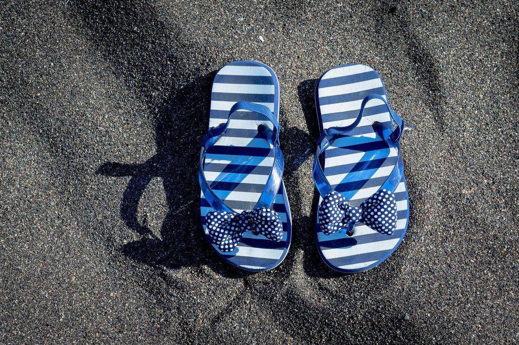 Fancy blue beach sandals